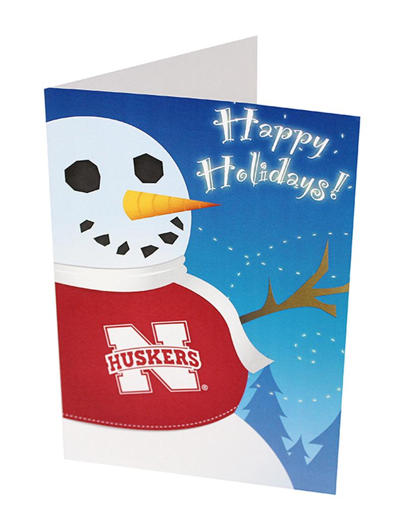 Nebraska Snowman Christmas Card