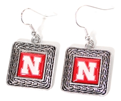 Nebraska Square Etched Earrings Nebraska Cornhuskers, Nebraska  Jewelry & Hair, Huskers  Jewelry & Hair, Nebraska  Ladies Accessories, Huskers  Ladies Accessories, Nebraska  Ladies, Huskers  Ladies, Nebraska Square Earrings Silver FTH, Huskers Square Earrings Silver FTH