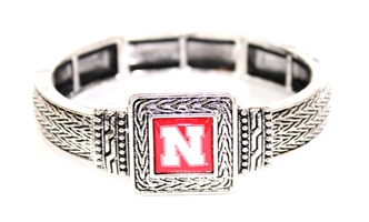 Nebraska Square Stretch Bracelet Nebraska Cornhuskers, Nebraska  Jewelry & Hair, Huskers  Jewelry & Hair, Nebraska  Ladies Accessories, Huskers  Ladies Accessories, Nebraska  Ladies, Huskers  Ladies, Nebraska Square Silver Stretch Bracelet FTH, Huskers Square Silver Stretch Bracelet FTH