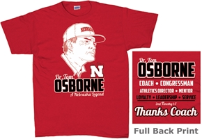 Osborne Red Legend Tee Nebraska cornhuskers, husker football, nebraska merchandise, husker merchandise, nebraska cornhuskers apparel, husker apparel, nebraska apparel, Tom Osborne t-shirt, Osborne career t-shirt, Tom Osborne husker shirt, black husker t-shirt, black nebraska t-shirt