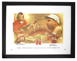 Pelini Osborne Framed and Autographed Print Nebraska Cornhuskers, Framed Autographed Field Prayer