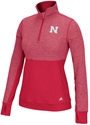 Red Adidas 1/2 Zip N Logo Driven Ladies Climalite Nebraska Cornhuskers, Nebraska  Ladies, Huskers  Ladies, Nebraska  Ladies Outerwear, Huskers  Ladies Outerwear, Nebraska Red Adidas 1/2 Zip N Logo Driven Ladies Climalite, Huskers Red Adidas 1/2 Zip N Logo Driven Ladies Climalite