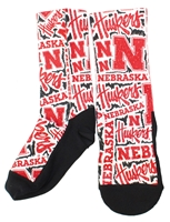 Husker Graffiti Rockem Socks Nebraska Cornhuskers, Nebraska  Footwear, Huskers  Footwear, Nebraska  Underwear & PJs, Huskers  Underwear & PJs, Nebraska  Ladies Accessories, Huskers  Ladies Accessories, Nebraska Red Graffiti Rockem Socks  , Huskers Red Graffiti Rockem Socks