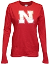 Red L/S Glitter Iron N Nebraska Cornhuskers, Nebraska  Ladies, Huskers  Ladies, Nebraska  Long Sleeve, Huskers  Long Sleeve, Nebraska  Ladies T-Shirts   , Huskers  Ladies T-Shirts   , Nebraska Red L/S Glitter Iron N, Huskers Red L/S Glitter Iron N
