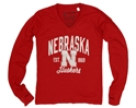 Red L/S Glitter Vneck Nebraska Cornhuskers, Nebraska  Long Sleeve, Huskers  Long Sleeve, Nebraska  Kids, Huskers  Kids, Nebraska  Youth, Huskers  Youth, Nebraska Red L/S Glitter Vneck, Huskers Red L/S Glitter Vneck