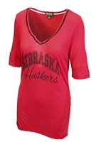 Red W Beaded Vneck Half Sleeve GDC Nebraska Cornhuskers, Nebraska  Ladies Tops, Huskers  Ladies Tops, Nebraska Red W Beaded Vneck Half Sleeve GDC, Huskers Red W Beaded Vneck Half Sleeve GDC