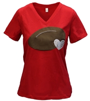 Silver Hearted Football VNeck Tee Nebraska Cornhuskers, Nebraska  Ladies T-Shirts, Huskers  Ladies T-Shirts, Nebraska  Ladies Tops, Huskers  Ladies Tops, Nebraska  Ladies, Huskers  Ladies, Nebraska Silver Hearted Football VNeck Tee, Huskers Silver Hearted Football VNeck Tee