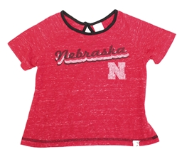 Toddler Girls Swimming Heathered Tee Nebraska Cornhuskers, Nebraska  Childrens, Huskers  Childrens, Nebraska Toddler Girls SS Swimming Heathered Tee Col, Huskers Toddler Girls SS Swimming Heathered Tee Col