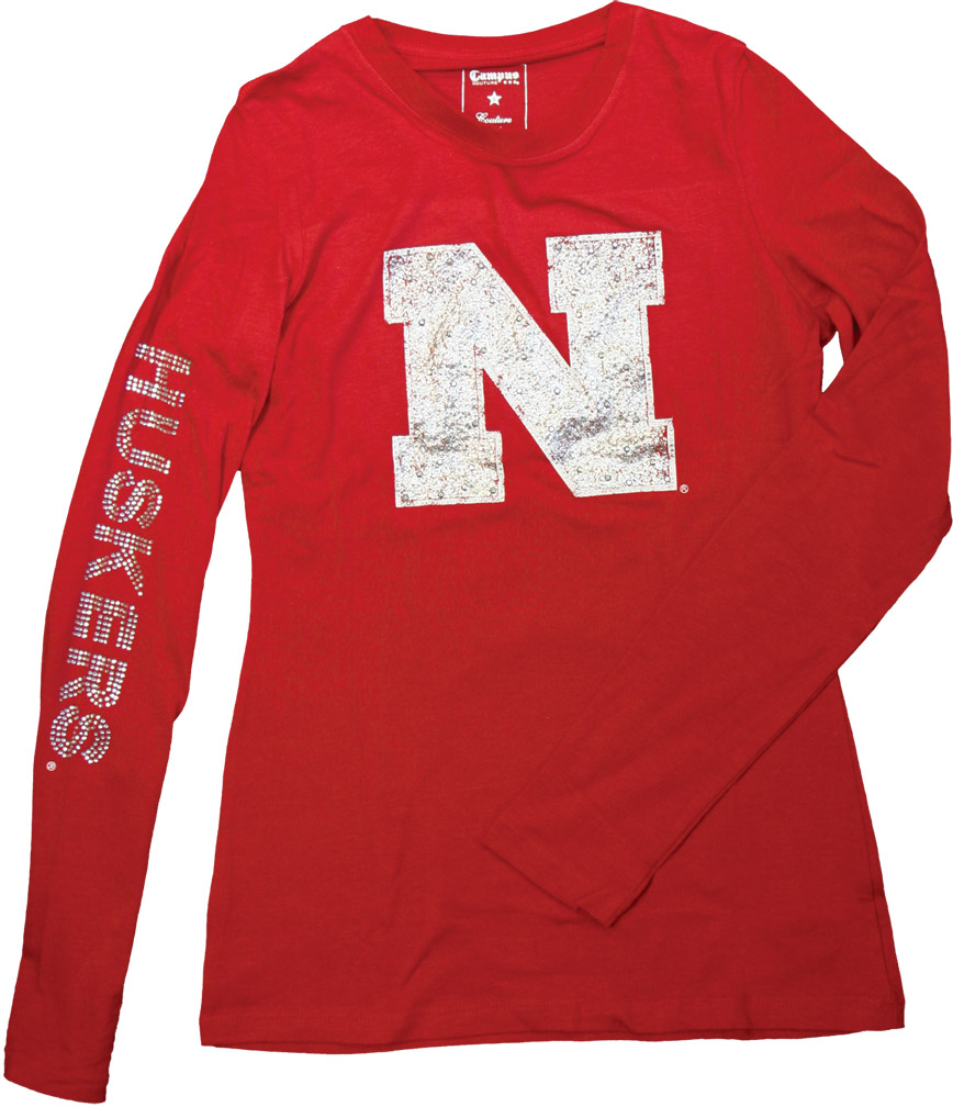 W. JRS. L/S SPARKLE IRON N Nebraska Cornhuskers, husker football, nebraska cornhuskers merchandise, nebraska merchandise, husker merchandise, nebraska cornhuskers apparel, husker apparel, nebraska apparel, husker womens apparel, nebraska cornhuskers womens apparel, nebraska womens apparel, husker womens merchandise, nebraska cornhuskers womens merchandise, womens nebraska t shirt, womens husker t shirt, womens nebraska cornhusker t shirt,Womens Junior Long Sleeve Sparkle Iron N