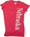 WMNS PINK TEE WITH SILVER NEB DWN SIDE Nebraska cornhuskers, husker football, nebraska cornhuskers merchandise, nebraska cornhuskers apparel, nebraska cornhuskers gear, huskers apparel, huskers gear, nebraska cornhuskers womens apparel, nebraska cornhuskers womens t-shirt, husker womens t-shirt, pink husker t-shirt