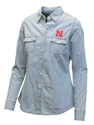 Womens Chambray Button up Nebraska Cornhuskers, Nebraska  Ladies, Huskers  Ladies, Nebraska  Long Sleeve, Huskers  Long Sleeve, Nebraska  Ladies Tops, Huskers  Ladies Tops, Nebraska Womens Chambray Button up, Huskers Womens Chambray Button up