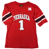 Youth Stripe Nebraska #1 Jersey Tee Nebraska Cornhuskers, Nebraska  Youth, Huskers  Youth, Nebraska  Kids, Huskers  Kids, Nebraska Red Stripe Jersey Tee LK, Huskers Red Stripe Jersey Tee LK