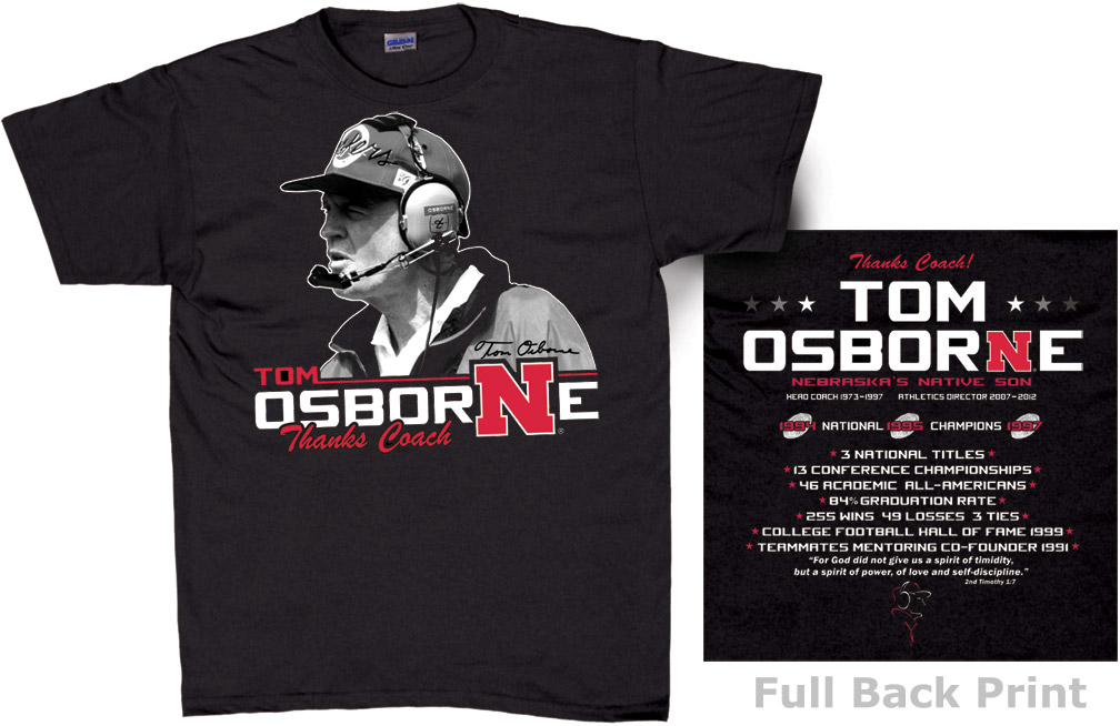 Osborne Black Career Tee Nebraska cornhuskers, husker football, nebraska merchandise, husker merchandise, nebraska cornhuskers apparel, husker apparel, nebraska apparel, Tom Osborne t-shirt, Osborne career t-shirt, Tom Osborne husker shirt, black husker t-shirt, black nebraska t-shirt