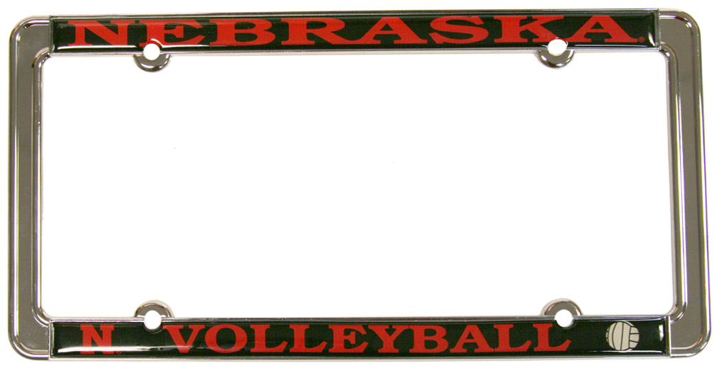 VOLLEYBALL THIN RIM LICENSE PLATE Nebraska cornhuskers, husker football, nebraska merchandise, husker merchandise, husker license plate frame, nebraska volleyball license plate frame, nebraska volleyball