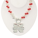 Red and Silver Pendent Logo Necklace Nebraska Cornhuskers, Nebraska Accessories, Huskers Accessories, Nebraska  Jewelry & Hair, Huskers  Jewelry & Hair, Nebraska  Ladies, Huskers  Ladies, Nebraska Womens, Huskers Womens, Nebraska  Ladies Accessories, Huskers  Ladies Accessories, Nebraska Red and Silver Pendent Logo Necklace, Huskers Red and Silver Pendent Logo Necklace