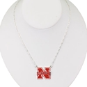 Red Rhinestone Logo Necklace Nebraska Cornhuskers, Nebraska Accessories, Huskers Accessories, Nebraska  Jewelry & Hair, Huskers  Jewelry & Hair, Nebraska  Ladies, Huskers  Ladies, Nebraska Womens, Huskers Womens, Nebraska  Ladies Accessories, Huskers  Ladies Accessories, Nebraska Red Rhinestone Logo Necklace, Huskers Red Rhinestone Logo Necklace
