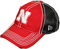 N ERA W. RED/BLK DISTRESSED WHITE N HAT husker football, nebraska merchandise, husker merchandise, nebraska cornhuskers apparel, husker apparel, nebraska apparel, husker hats, nebraska hats, nebraska caps, husker caps, Nebraska Cornhuskers, New Era Womens Red and Black Distressed White N