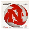 Red and White Volleyball with Iron N Magnet Nebraska Cornhuskers, Nebraska Vehicle, Huskers Vehicle, Nebraska  Other Sports, Huskers  Other Sports, Nebraska Volleyball, Huskers Volleyball, Nebraska Red and White Volleyball with Iron N Magnet, Huskers Red and White Volleyball with Iron N Magnet