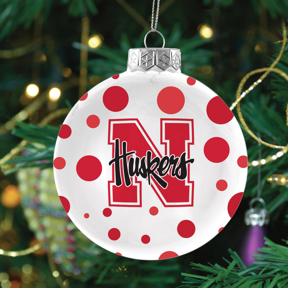 POLKA DOT ORNAMENT Nebraska Cornhuskers, POLKA DOT ORNAMENT