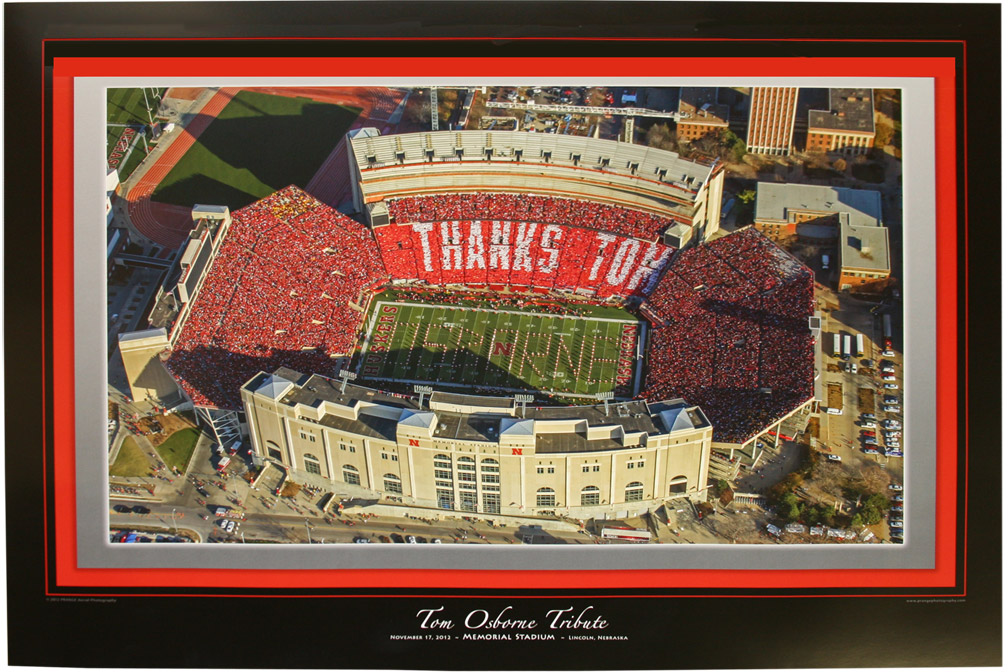 Thanks Tom Tribute Poster Nebraska cornhuskers, husker football, nebraska cornhuskers merchandise, husker merchandise, Thanks Tom poster, Osborne retirement poster, 2012 Nebraska vs. Minnesota,
