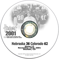 2001 Nu Vs. Colorado Dvd Husker football, Nebraska cornhuskers merchandise, husker merchandise, nebraska merchandise, nebraska cornhuskers dvd, husker dvd, nebraska football dvd, nebraska cornhuskers videos, husker videos, nebraska football videos, husker game dvd, husker bowl game dvd, husker dvd subscription, nebraska cornhusker dvd subscription, husker football season on dvd, nebraska cornhuskers dvd box sets, husker dvd box sets, Nebraska Cornhuskers, 2001 Colorado