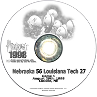 1998 Louisiana Tech Husker football, Nebraska cornhuskers merchandise, husker merchandise, nebraska merchandise, nebraska cornhuskers dvd, husker dvd, nebraska football dvd, nebraska cornhuskers videos, husker videos, nebraska football videos, husker game dvd, husker bowl game dvd, husker dvd subscription, nebraska cornhusker dvd subscription, husker football season on dvd, nebraska cornhuskers dvd box sets, husker dvd box sets, Nebraska Cornhuskers, 1998 Louisiana Tech