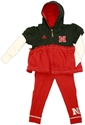 Nebraska Hoodie Legging Set Nebraska Cornhuskers, husker football, nebraska cornhuskers merchandise, nebraska merchandise, husker merchandise, nebraska cornhuskers apparel, husker apparel, nebraska apparel, husker infant and toddler apparel, nebraska cornhuskers infant and toddler apparel, nebraska kids apparel, husker kids apparel, husker kids merchandise, nebraska cornhuskers kids merchandise,Adidas Infant  Full Zip Layered Hoodie and Legging Set