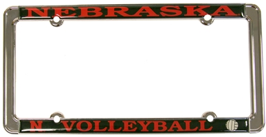 VOLLEYBALL THIN RIM LICENSE PLATE FRAME Nebraska cornhuskers, husker football, nebraska merchandise, husker merchandise, husker license plate frame, nebraska volleyball license plate frame, nebraska volleyball