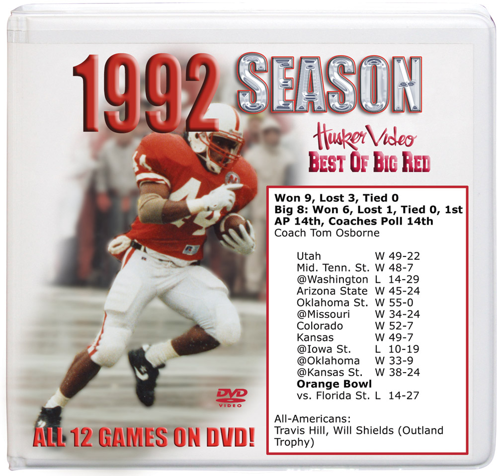 1992 Complete Season Box Set Husker football, Nebraska cornhuskers merchandise, husker merchandise, nebraska merchandise, nebraska cornhuskers dvd, husker dvd, nebraska football dvd, nebraska cornhuskers videos, husker videos, nebraska football videos, husker game dvd, husker bowl game dvd, husker dvd subscription, nebraska cornhusker dvd subscription, husker football season on dvd, nebraska cornhuskers dvd box sets, husker dvd box sets, Nebraska Cornhuskers, 1992 Complete Season on DVD