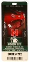 MSU 2011 Game Ticket Nebraska Cornhuskers, Nebraska One of a Kind, Huskers One of a Kind, Nebraska MSU 2011 Game Ticket, Huskers MSU 2011 Game Ticket