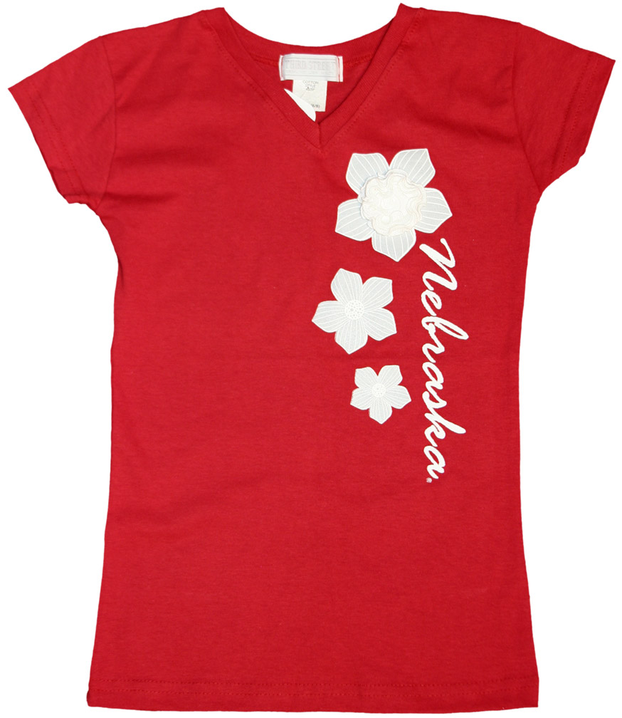 Girls V-Neck Flower Tee Nebraska Cornhuskers, Nebraska  Youth, Huskers  Youth, Nebraska  Kids, Huskers  Kids, Nebraska Girls V-Neck Flower Tee, Huskers Girls V-Neck Flower Tee
