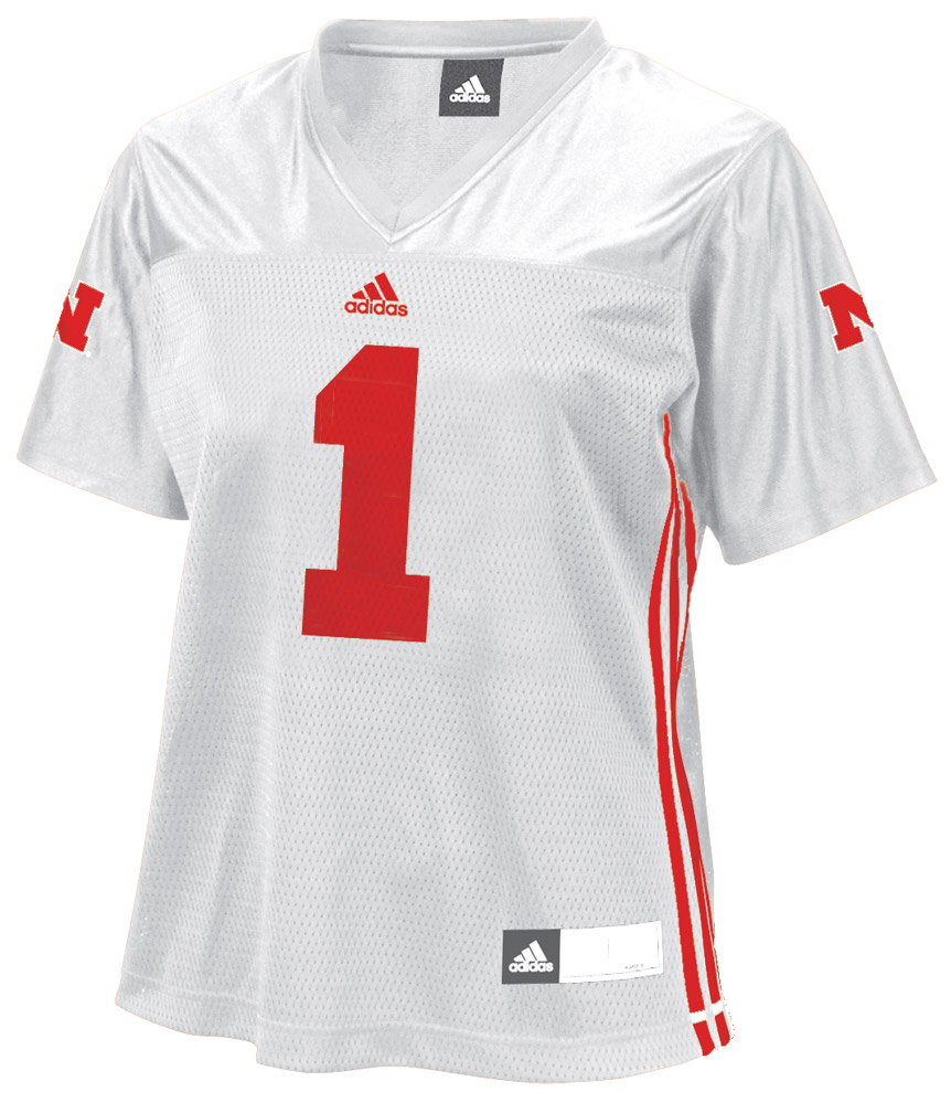 LADIES WHITE #1 ADIDAS JERSEY Nebraska Cornhuskers, husker football, nebraska cornhuskers merchandise, nebraska merchandise, husker merchandise, nebraska cornhuskers apparel, husker apparel, nebraska apparel, husker womens apparel, nebraska cornhuskers womens apparel, nebraska womens apparel, husker womens merchandise, nebraska cornhuskers womens merchandise, womens nebraska sweatshirt, womens husker sweatshirt, womens nebraska cornhusker sweatshirt,LADIES WHITE #1 ADIDAS JERSEY