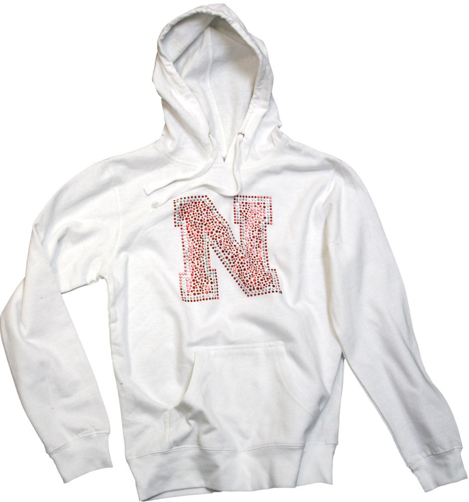 Womens White Pullover Hoody with Bling N Nebraska cornhuskers, husker football, nebraska cornhuskers merchandise, husker merchandise, nebraska cornhuskers apparel, husker apparel, nebraska cornhuskers womens sweatshirt, nebraska cornhuskers womens apparel, husker womens apparel, husker womens sweatshirt, womens husker sweatshirt, bling husker sweatshirt