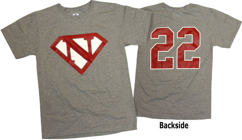 GREY SUPERMAN #22 TEE Nebraska Cornhuskers, husker football, nebraska cornhuskers merchandise, nebraska merchandise, husker merchandise, nebraska cornhuskers apparel, husker apparel, nebraska apparel, husker mens apparel, nebraska cornhuskers mens apparel, nebraska mens apparel, husker mens merchandise, nebraska cornhuskers mens merchandise, mens nebraska t shirt, mens husker t shirt, mens nebraska cornhusker t shirt,GREY SUPERMAN #22 TEE