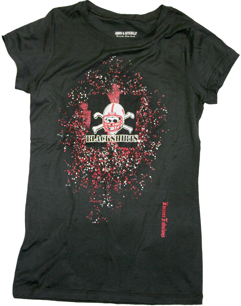 Womens Blackshirts Foil T-shirt Nebraska Cornhuskers, husker football, nebraska cornhuskers merchandise, nebraska merchandise, husker merchandise, nebraska cornhuskers apparel, husker apparel, nebraska apparel, husker womens apparel, nebraska cornhuskers womens apparel, nebraska womens apparel, husker womens merchandise, nebraska cornhuskers womens merchandise, womens nebraska t shirt, womens husker t shirt, womens nebraska cornhusker t shirt,Womens Blackshirts Foil T-shirt