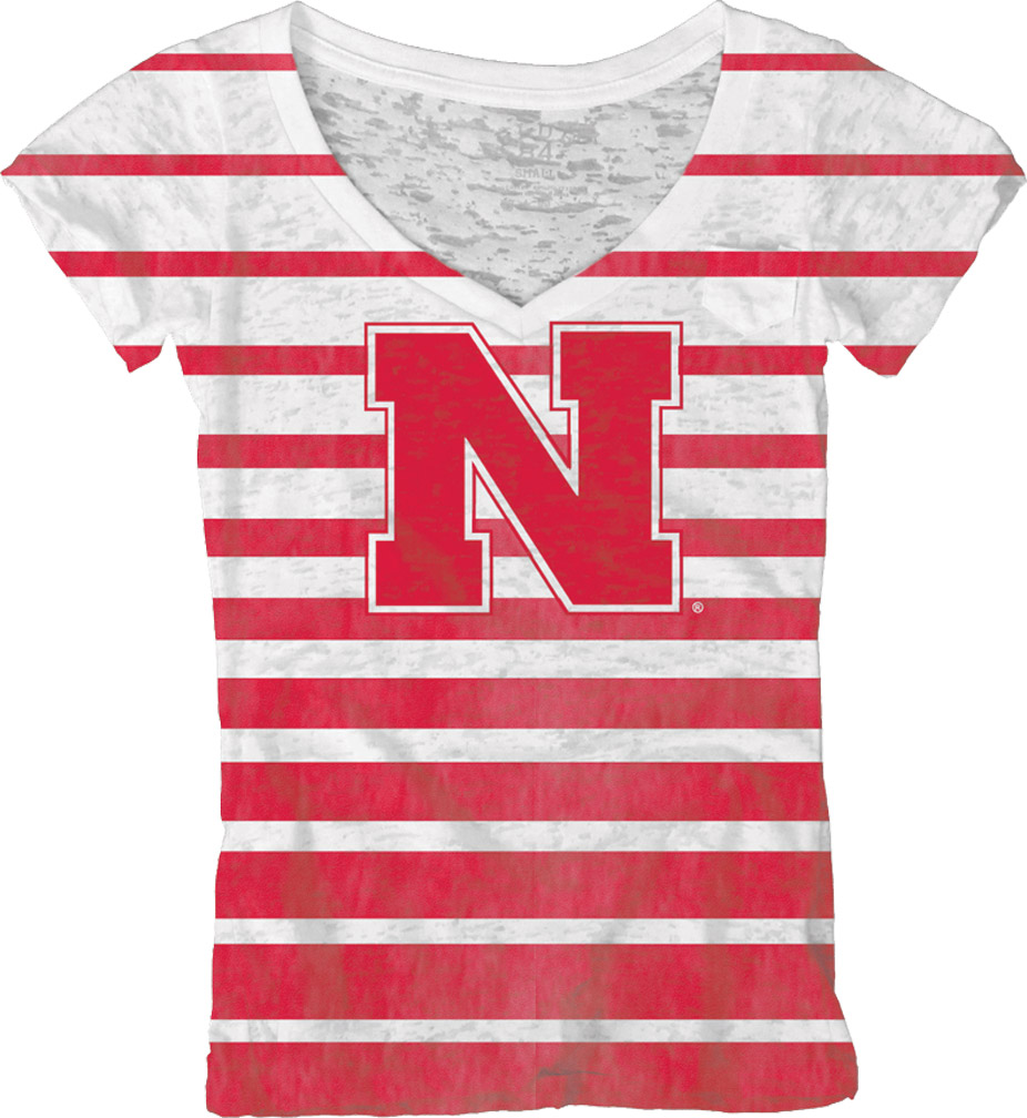 Junior Sublimation V-Neck Pocket Striped T-shirt Nebraska Cornhuskers, husker football, nebraska cornhuskers merchandise, nebraska merchandise, husker merchandise, nebraska cornhuskers apparel, husker apparel, nebraska apparel, husker womens apparel, nebraska cornhuskers womens apparel, nebraska womens apparel, husker womens merchandise, nebraska cornhuskers womens merchandise, womens nebraska t shirt, womens husker t shirt, womens nebraska cornhusker t shirt,Junior Sublimation V-Neck Pocket Striped T-shirt