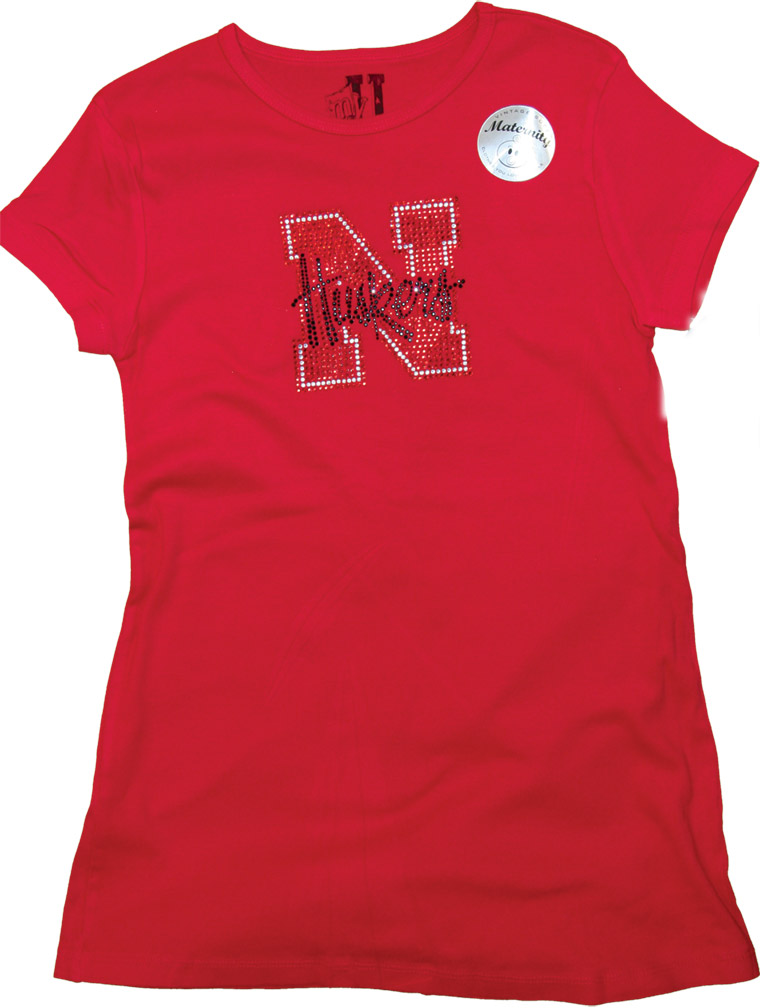 Womens Rhinestone Maternity T-shirt Nebraska Cornhuskers, husker football, nebraska cornhuskers merchandise, nebraska merchandise, husker merchandise, nebraska cornhuskers apparel, husker apparel, nebraska apparel, husker womens apparel, nebraska cornhuskers womens apparel, nebraska womens apparel, husker womens merchandise, nebraska cornhuskers womens merchandise, womens nebraska t shirt, womens husker t shirt, womens nebraska cornhusker t shirt,Womens Rhinestone Maternity T-shirt