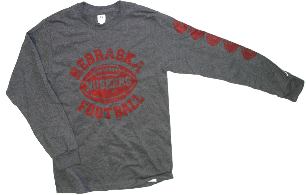 Black Heather Long Sleeve Football T-shirt Nebraska Cornhuskers, husker football, nebraska cornhuskers merchandise, nebraska merchandise, husker merchandise, nebraska cornhuskers apparel, husker apparel, nebraska apparel, husker mens apparel, nebraska cornhuskers mens apparel, nebraska mens apparel, husker mens merchandise, nebraska cornhuskers mens merchandise, mens nebraska t shirt, mens husker t shirt, mens nebraska cornhusker t shirt,Black Heather Long Sleeve Football T-shirt