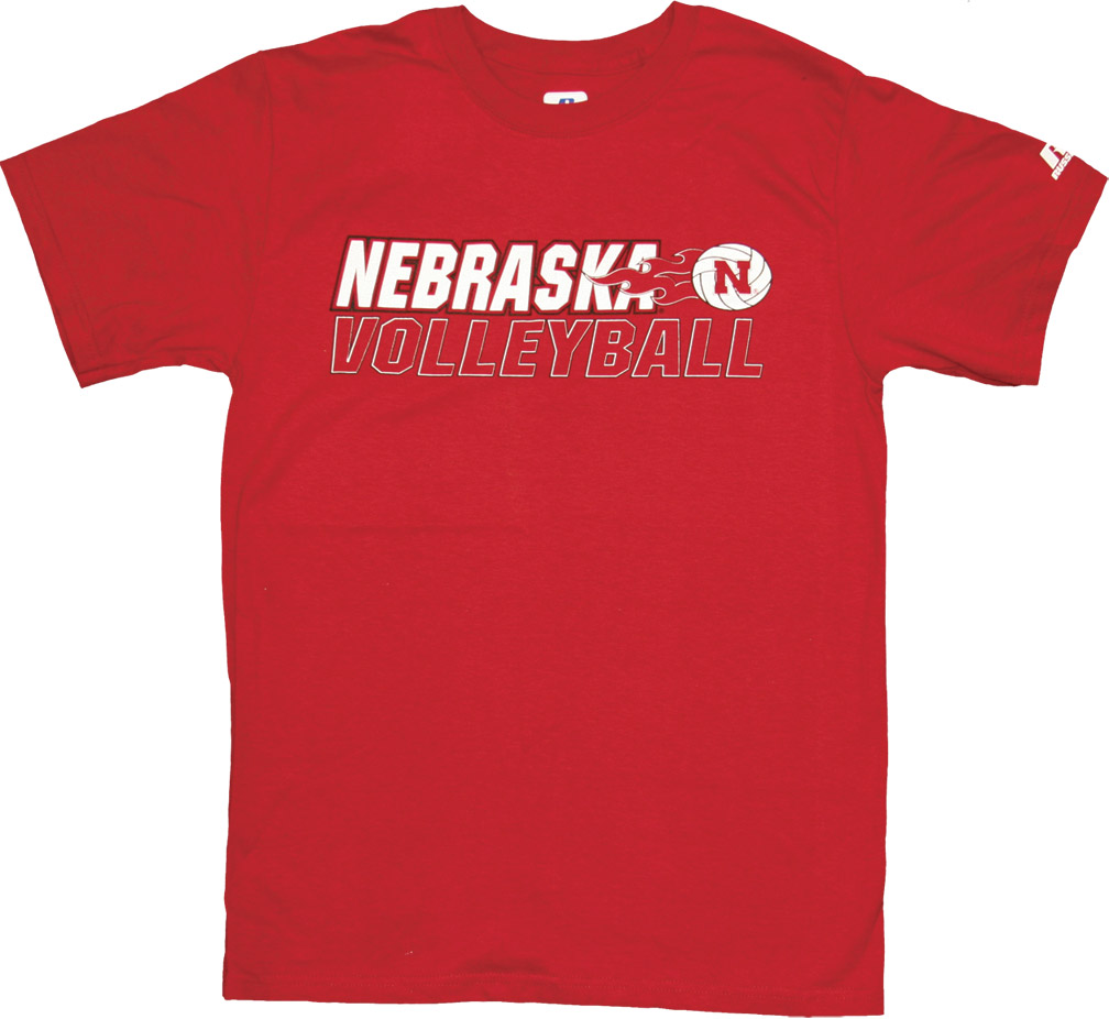 Russell Red Volleyball Flames Tee Nebraska Cornhuskers, husker football, nebraska cornhuskers merchandise, nebraska merchandise, husker merchandise, nebraska cornhuskers apparel, husker apparel, nebraska apparel, husker womens apparel, nebraska cornhuskers womens apparel, nebraska womens apparel, husker womens merchandise, nebraska cornhuskers womens merchandise, womens nebraska t shirt, womens husker t shirt, womens nebraska cornhusker t shirt,Russell Red Volleyball Flames Tee