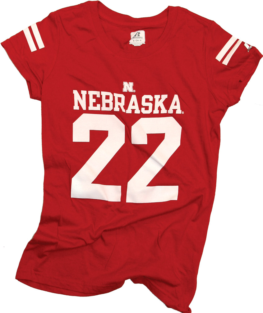 Russell Womens Number 22 Jersey Tee Nebraska Cornhuskers, husker football, nebraska cornhuskers merchandise, nebraska merchandise, husker merchandise, nebraska cornhuskers apparel, husker apparel, nebraska apparel, husker womens apparel, nebraska cornhuskers womens apparel, nebraska womens apparel, husker womens merchandise, nebraska cornhuskers womens merchandise, womens nebraska t shirt, womens husker t shirt, womens nebraska cornhusker t shirt,Russell Womens Number 22 Jersey Tee