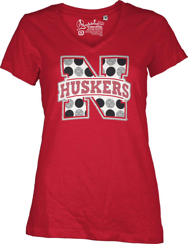 Polka Dot Nebraska Logo V-Neck Nebraska Cornhuskers, husker football, nebraska cornhuskers merchandise, nebraska merchandise, husker merchandise, nebraska cornhuskers apparel, husker apparel, nebraska apparel, husker womens apparel, nebraska cornhuskers womens apparel, nebraska womens apparel, husker womens merchandise, nebraska cornhuskers womens merchandise, womens nebraska t shirt, womens husker t shirt, womens nebraska cornhusker t shirt, Polka Dot Nebraska Logo V-Neck
