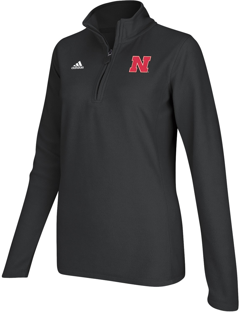 Adidas Womens Black Quarter Zip Microfleece Jacket Nebraska Cornhuskers, Adidas Womens Black Quarter Zip Microfleece Jacket