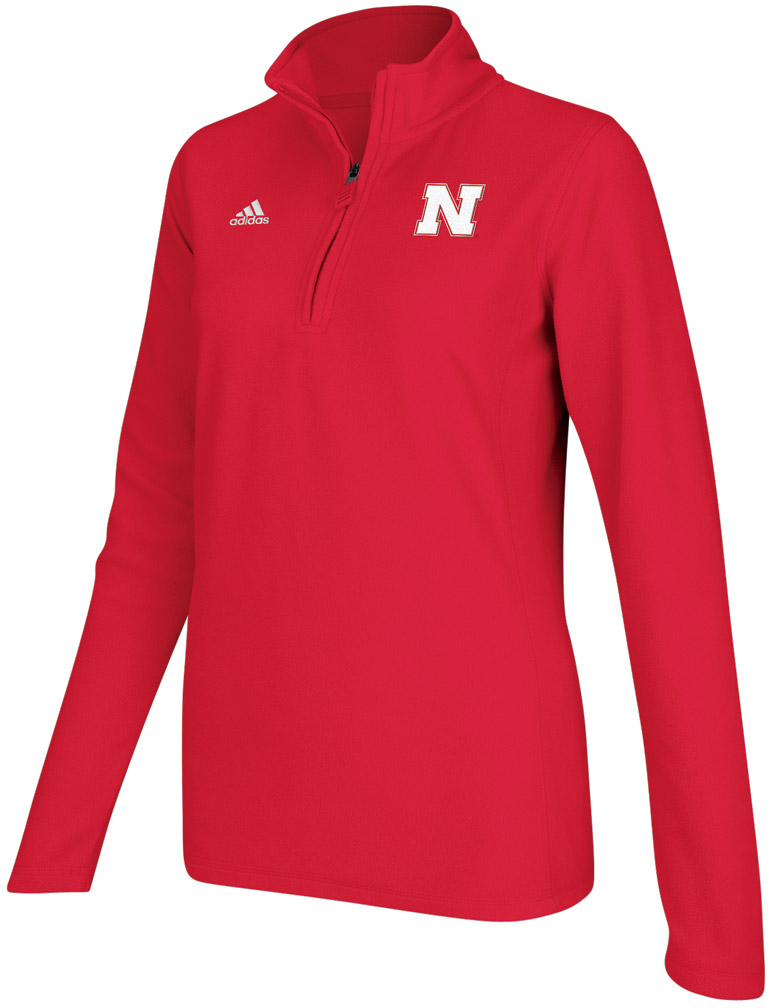 Adidas Womens Red Quarter Zip Microfleece Jacket Nebraska Cornhuskers, Adidas Womens Red Quarter Zip Microfleece Jacket