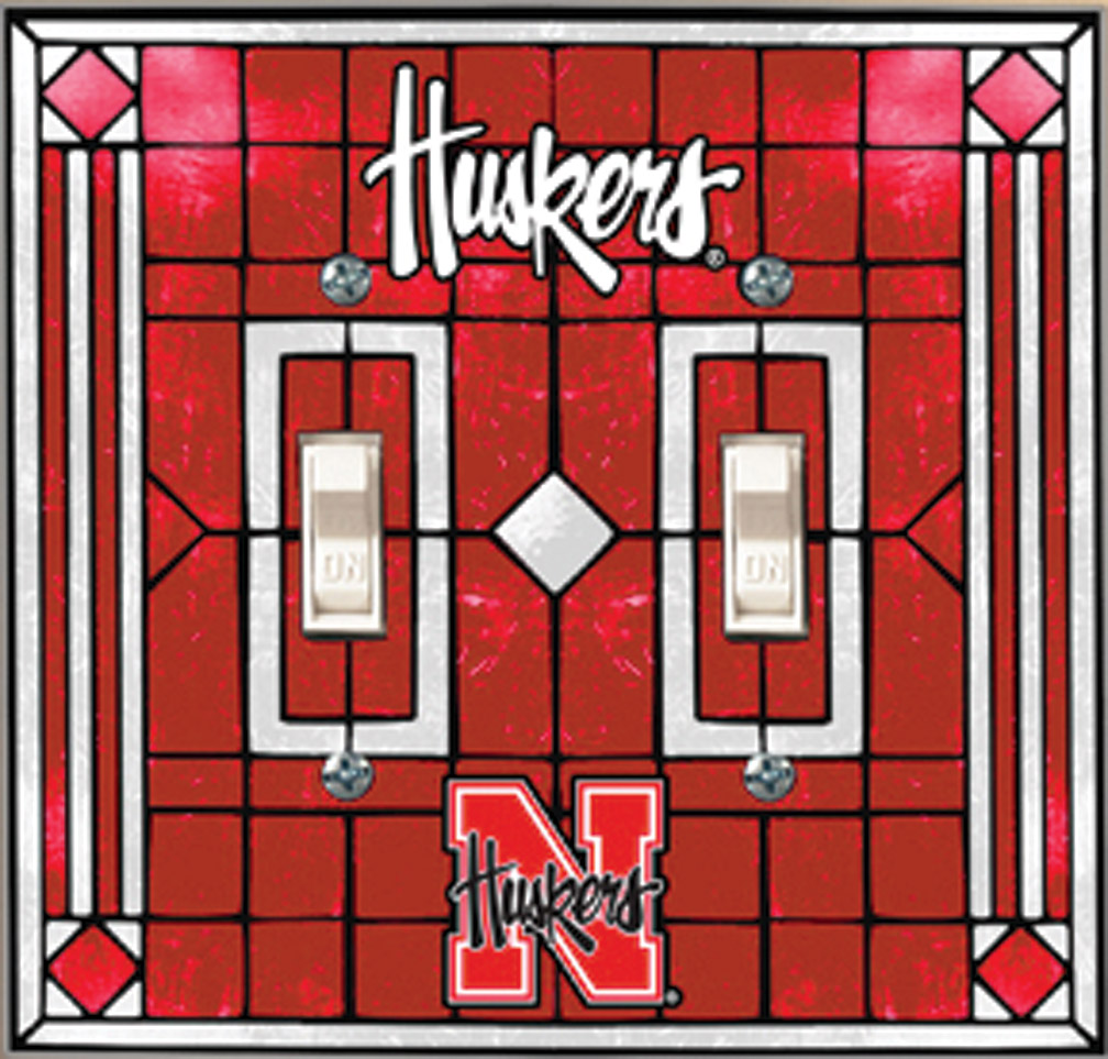 Art Glass Double Light Switch Cover Nebraska Cornhuskers, Art Glass Double Light Switch Cover
