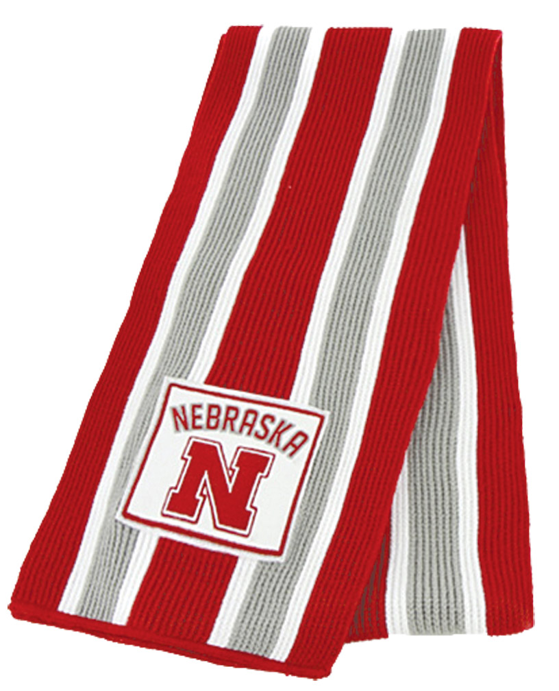 Grey White Red Stripe Scarf Nebr Graphic Nebraska Cornhuskers, husker football, nebraska cornhuskers merchandise, nebraska merchandise, husker merchandise, nebraska cornhuskers apparel, husker apparel, nebraska apparel, husker womens apparel, nebraska cornhuskers womens apparel, nebraska womens apparel, husker womens merchandise, nebraska cornhuskers womens merchandise, womens nebraska accessories, womens husker accessories, womens nebraska cornhusker accessories,Grey White Red Stripe Scarf Nebr Graphic