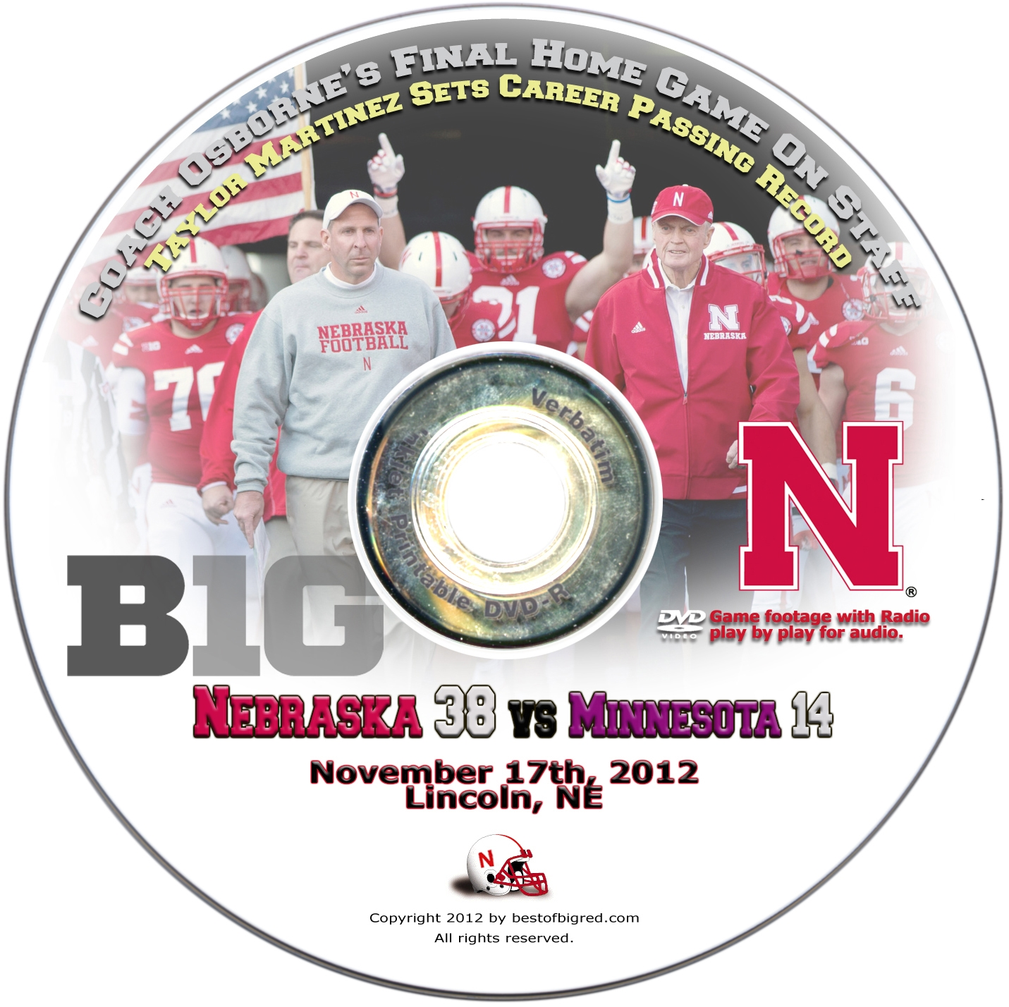 2012 Huskers vs. Minnesota Golden Gophers Husker football, Nebraska cornhuskers merchandise, husker merchandise, nebraska merchandise, nebraska cornhuskers dvd, husker dvd, nebraska football dvd, nebraska cornhuskers videos, husker videos, nebraska football videos, husker game dvd, husker bowl game dvd, husker dvd subscription, nebraska cornhusker dvd subscription, husker football season on dvd, nebraska cornhuskers dvd box sets, husker dvd box sets, Nebraska Cornhuskers, 2012 Minnesota