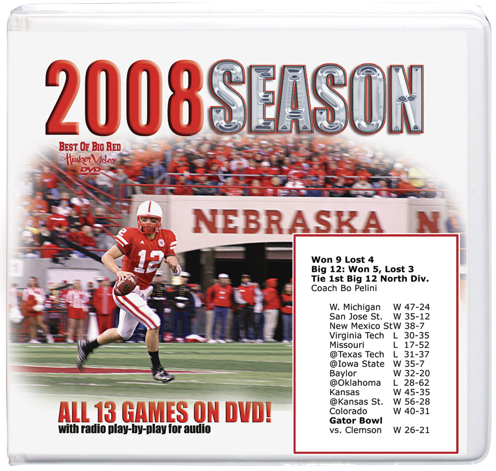 2008 Complete Season on DVD Husker football, Nebraska cornhuskers merchandise, husker merchandise, nebraska merchandise, nebraska cornhuskers dvd, husker dvd, nebraska football dvd, nebraska cornhuskers videos, husker videos, nebraska football videos, husker game dvd, husker bowl game dvd, husker dvd subscription, nebraska cornhusker dvd subscription, husker football season on dvd, nebraska cornhuskers dvd box sets, husker dvd box sets, Nebraska Cornhuskers, 2008 Complete Season on DVD