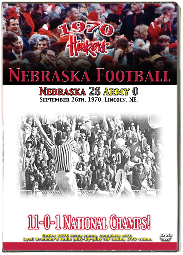 1970 Huskers vs Army Golden Knights Husker football, Nebraska cornhuskers merchandise, husker merchandise, nebraska merchandise, nebraska cornhuskers dvd, husker dvd, nebraska football dvd, nebraska cornhuskers videos, husker videos, nebraska football videos, husker game dvd, husker bowl game dvd, husker dvd subscription, nebraska cornhusker dvd subscription, husker football season on dvd, nebraska cornhuskers dvd box sets, husker dvd box sets, Nebraska Cornhuskers, 1970 Army