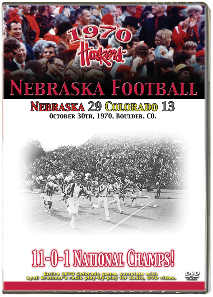 1970 Huskers vs Colorado Buffaloes Husker football, Nebraska cornhuskers merchandise, husker merchandise, nebraska merchandise, nebraska cornhuskers dvd, husker dvd, nebraska football dvd, nebraska cornhuskers videos, husker videos, nebraska football videos, husker game dvd, husker bowl game dvd, husker dvd subscription, nebraska cornhusker dvd subscription, husker football season on dvd, nebraska cornhuskers dvd box sets, husker dvd box sets, Nebraska Cornhuskers, 1970 Colorado Game