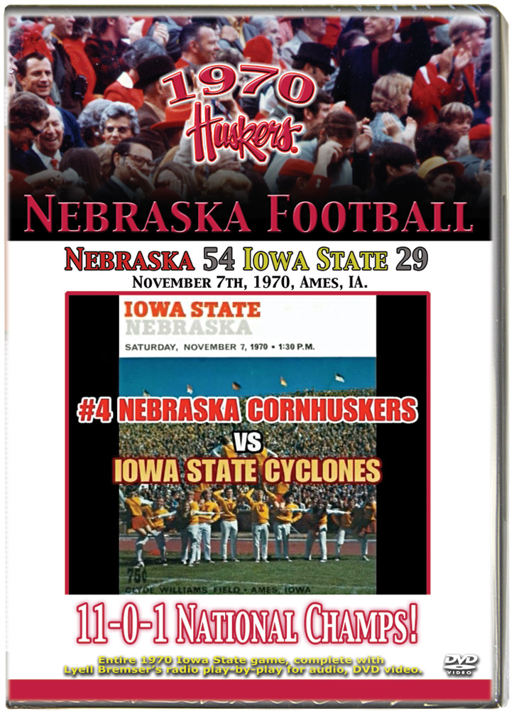 1970 Huskers vs Iowa State Cyclones Husker football, Nebraska cornhuskers merchandise, husker merchandise, nebraska merchandise, nebraska cornhuskers dvd, husker dvd, nebraska football dvd, nebraska cornhuskers videos, husker videos, nebraska football videos, husker game dvd, husker bowl game dvd, husker dvd subscription, nebraska cornhusker dvd subscription, husker football season on dvd, nebraska cornhuskers dvd box sets, husker dvd box sets, Nebraska Cornhuskers, 1970 Iowa State Game